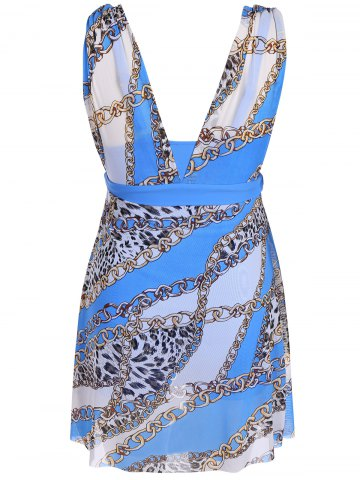 Outfits Graceful Plunging Neck Chain and Leopard Print Asymmetrical One-Piece Swimwear For Women - 2XL BLUE Mobile