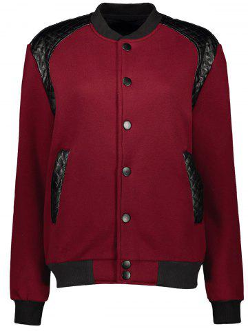 Stand Collar PU-Leather Splicing Jacket - Claret - S