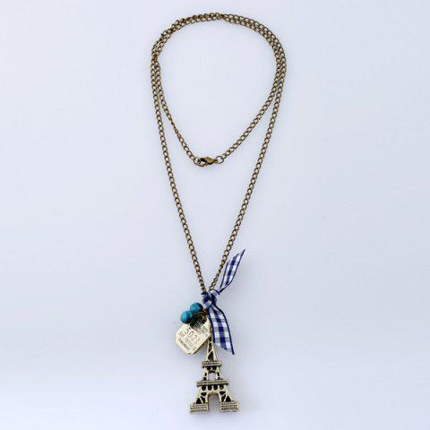 Hot Eiffel Tower Bowknot Beads Sweater Chain - BRONZE-COLORED  Mobile