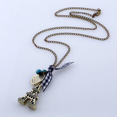 Fashion Eiffel Tower Bowknot Beads Sweater Chain - BRONZE-COLORED  Mobile