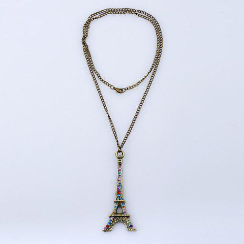 Outfits Rhinestone Eiffel Tower Sweater Chain - BRONZE-COLORED  Mobile