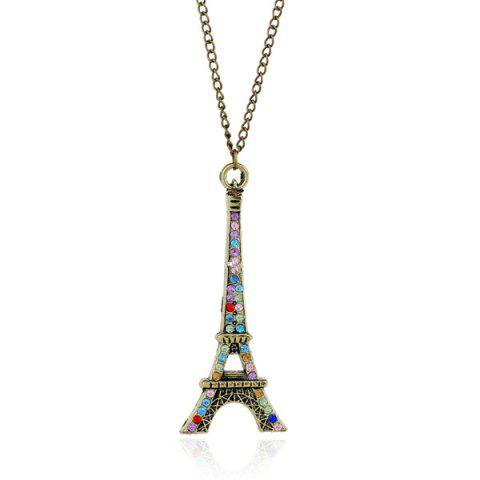 Rhinestone Eiffel Tower Sweater Chain - Bronze-colored