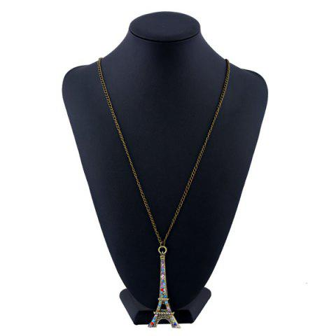 Cheap Rhinestone Eiffel Tower Sweater Chain - BRONZE-COLORED  Mobile