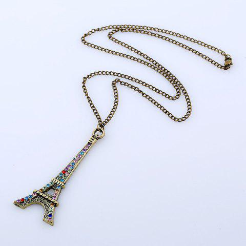 New Rhinestone Eiffel Tower Sweater Chain - BRONZE-COLORED  Mobile