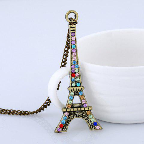Store Rhinestone Eiffel Tower Sweater Chain - BRONZE-COLORED  Mobile