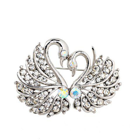 Chic Double Swan Rhinestone Brooch - SILVER WHITE  Mobile