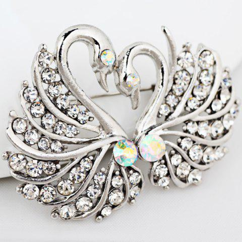 Latest Double Swan Rhinestone Brooch - SILVER WHITE  Mobile