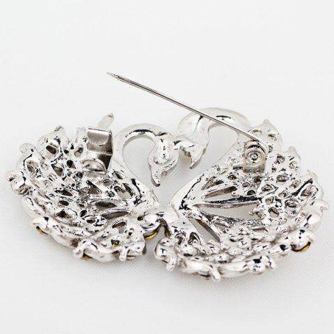Outfits Double Swan Rhinestone Brooch - SILVER WHITE  Mobile