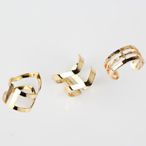 Online Geometric Hollow Out Cuff Rings - GOLDEN  Mobile