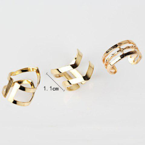 Discount Geometric Hollow Out Cuff Rings - GOLDEN  Mobile