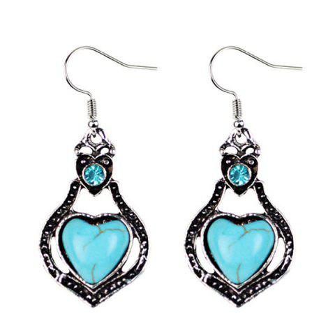 Fancy Faux Turquoise Heart Pendant Necklace and Earrings - CYAN  Mobile