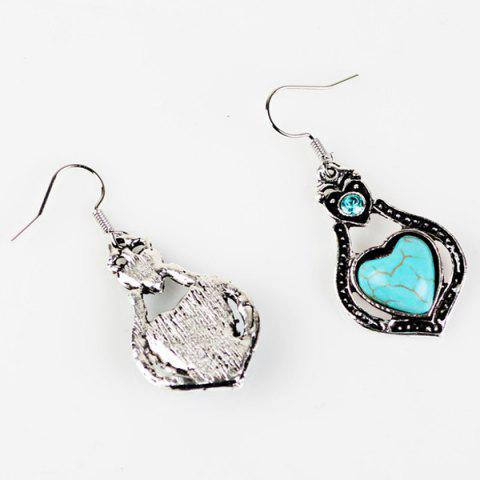 Store Faux Turquoise Heart Pendant Necklace and Earrings - CYAN  Mobile