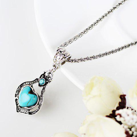 Outfits Faux Turquoise Heart Pendant Necklace and Earrings - CYAN  Mobile