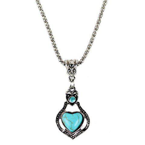Discount Faux Turquoise Heart Pendant Necklace and Earrings - CYAN  Mobile