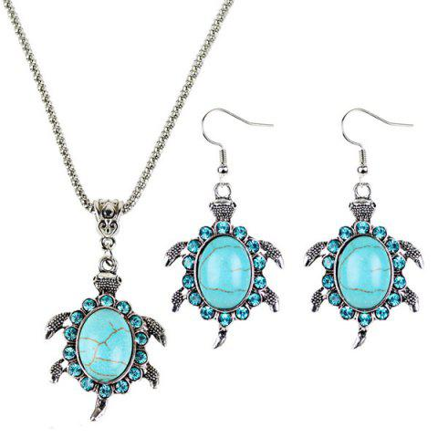 Outfits Faux Turquoise Tortoise Necklace and Earrings - CYAN  Mobile