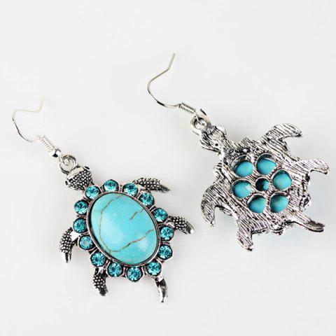 Outfit Faux Turquoise Tortoise Necklace and Earrings - CYAN  Mobile