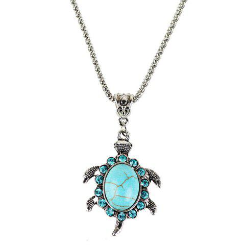 Fancy Faux Turquoise Tortoise Necklace and Earrings - CYAN  Mobile