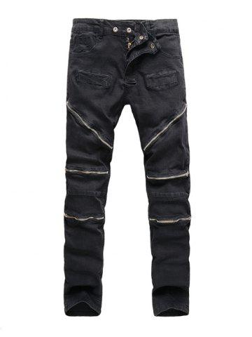 Buy Zipper Embellished Spliced Five-Pocket Straight Leg Jeans BLACK 38