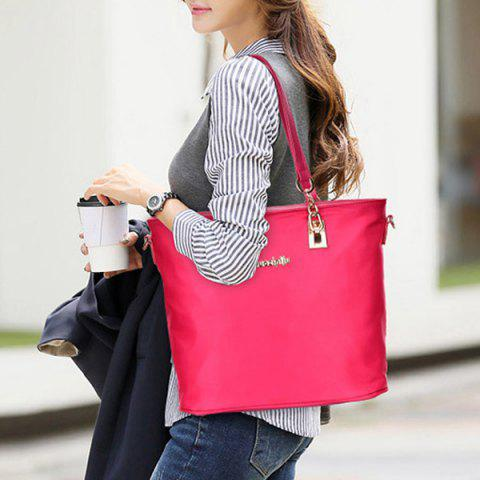 New Fashion Solid Color and Metal Logo Design Women's Shoulder Bag - ROSE  Mobile