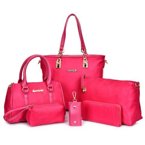 Hot Fashion Solid Color and Metal Logo Design Women's Shoulder Bag - ROSE  Mobile