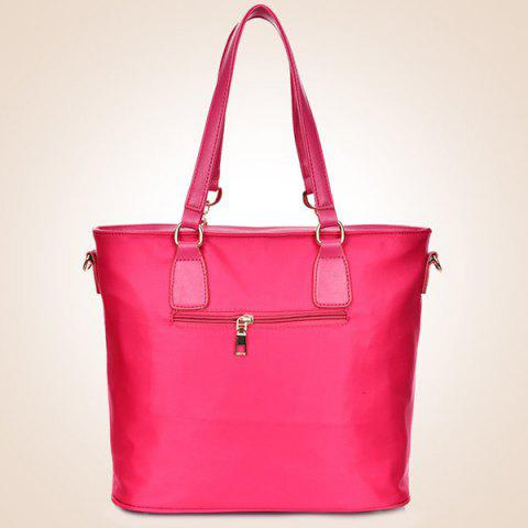 Fashion Fashion Solid Color and Metal Logo Design Women's Shoulder Bag - ROSE  Mobile