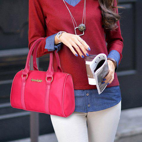 Trendy Fashion Solid Color and Metal Logo Design Women's Shoulder Bag - ROSE  Mobile