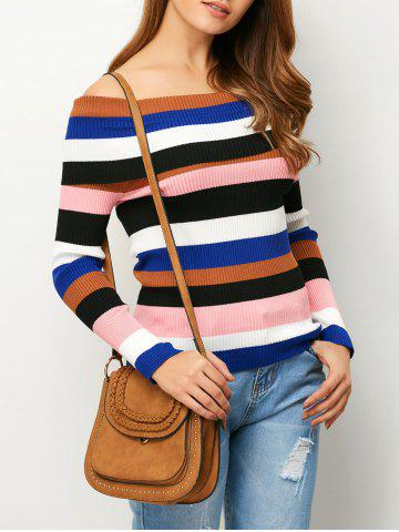 Off The Shoulder Striped Ribbed Sweater
