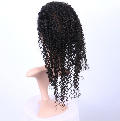 Online Long Deep Curly 360° Lace Human Hair Wig - BLACK  Mobile