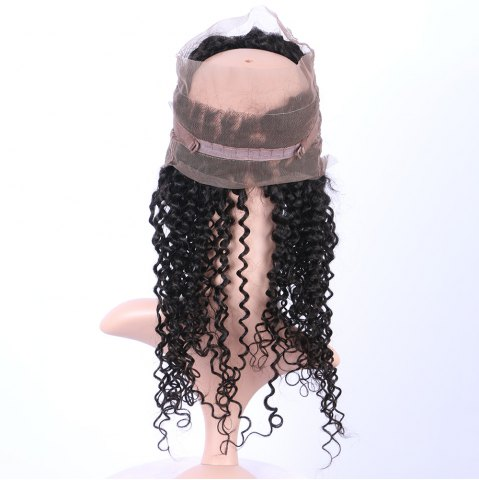 Fashion Long Deep Curly 360° Lace Human Hair Wig - BLACK  Mobile
