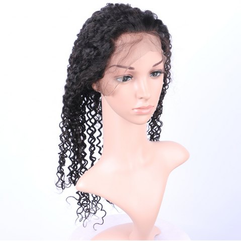 Sale Long Deep Curly 360° Lace Human Hair Wig - BLACK  Mobile