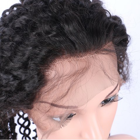 Shops Long Deep Curly 360° Lace Human Hair Wig - BLACK  Mobile