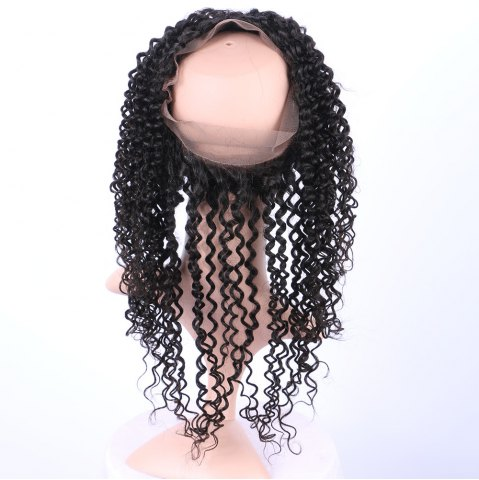 Discount Long Deep Curly 360° Lace Human Hair Wig - BLACK  Mobile