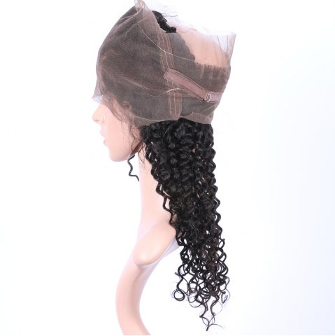 Hot Long Deep Curly 360° Lace Human Hair Wig - BLACK  Mobile