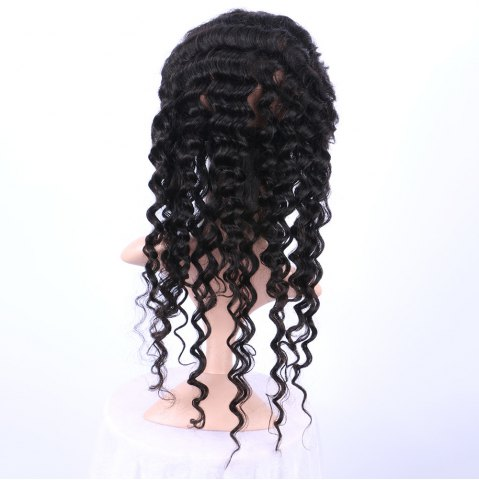 Discount Long Deep Wave 360° Lace Human Hair Wig - BLACK  Mobile