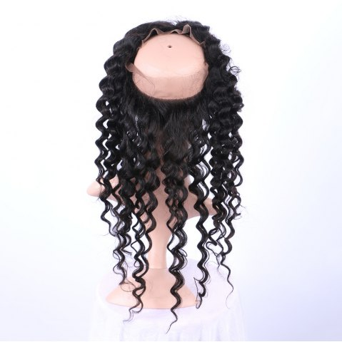 Affordable Long Deep Wave 360° Lace Human Hair Wig - BLACK  Mobile
