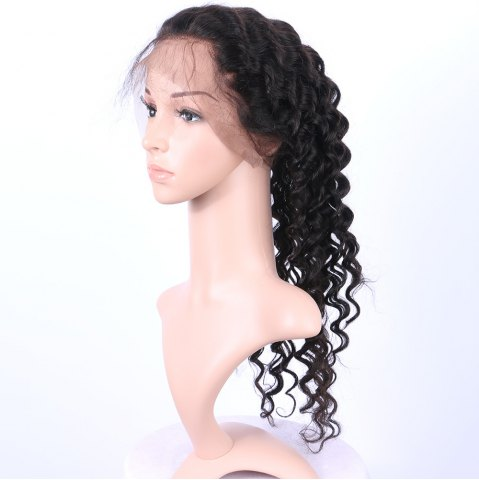 Online Long Deep Wave 360° Lace Human Hair Wig - BLACK  Mobile