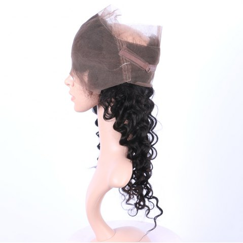Fashion Long Deep Wave 360° Lace Human Hair Wig - BLACK  Mobile