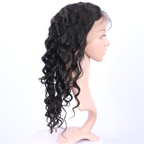 Discount Long Loose Wave 360° Lace Human Hair Wig - BLACK  Mobile
