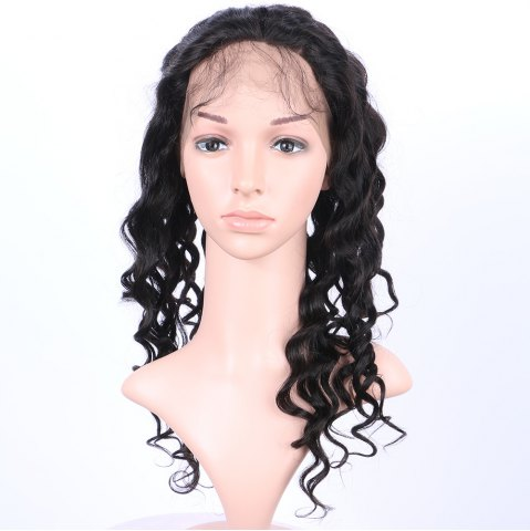 Online Long Loose Wave 360° Lace Human Hair Wig - BLACK  Mobile