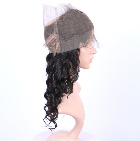 Hot Long Loose Wave 360° Lace Human Hair Wig - BLACK  Mobile