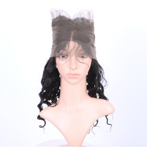 Affordable Long Loose Wave 360° Lace Human Hair Wig - BLACK  Mobile