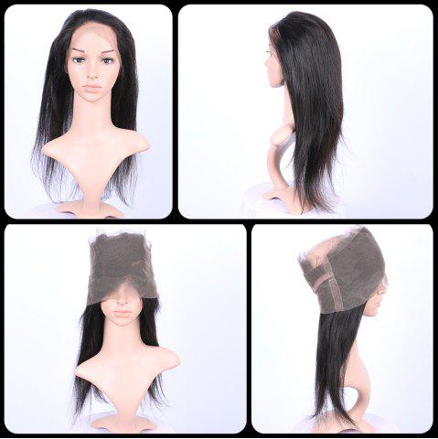 Online Long Straight 360° Lace Human Hair Wig - BLACK  Mobile