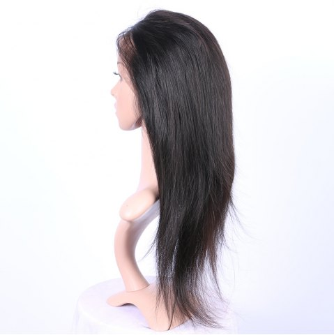 Affordable Long Straight 360° Lace Human Hair Wig - BLACK  Mobile