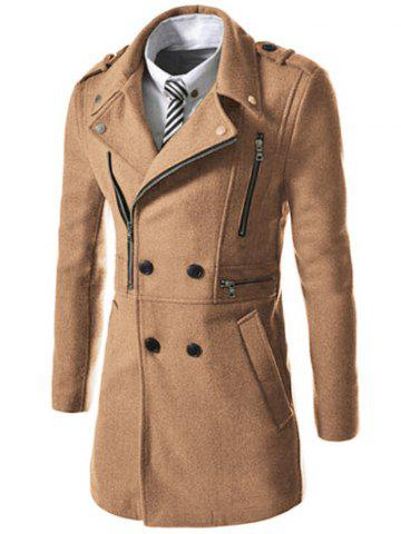 Asymetrical Zipper Lapel Wool Blend Coat - Camel - M