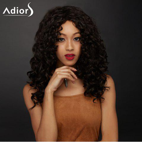 Hot Long Side Parting Shaggy Curly Synthetic Wig DEEP BROWN