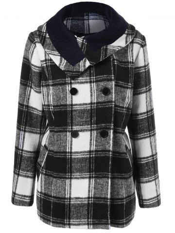 Online Plus Size Plaid Pea Coat
