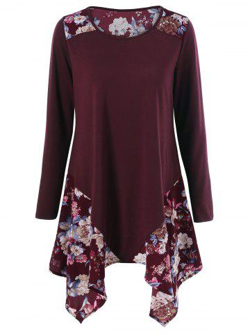 Outfits Floral Print Asymmetric Tunic T-Shirt WINE RED XL