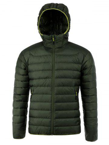Chic Zip Up Hooded Down Jacket ODM Designer GREEN S