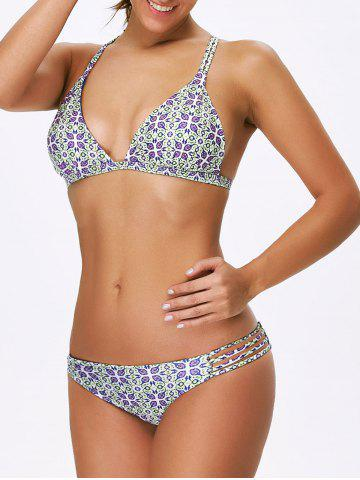 Outfits Strappy Padded Print Bikini Set MULTICOLOR L