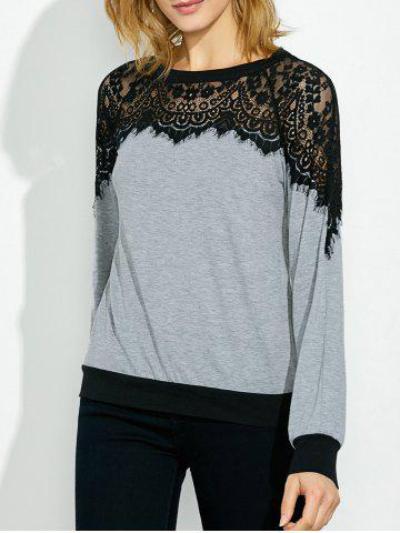 Affordable Lace Panel Two Tone Sweatshirt
